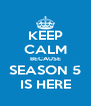 KEEP CALM BECAUSE SEASON 5 IS HERE - Personalised Poster A4 size