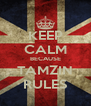 KEEP CALM BECAUSE TAMZIN RULES - Personalised Poster A4 size