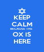 KEEP CALM BECAUSE THE  OX IS HERE - Personalised Poster A4 size