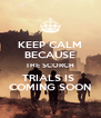 KEEP CALM BECAUSE THE SCORCH TRIALS IS  COMING SOON - Personalised Poster A4 size