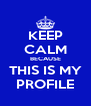 KEEP CALM BECAUSE THIS IS MY PROFILE - Personalised Poster A4 size