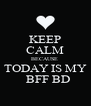 KEEP CALM BECAUSE   TODAY IS MY    BFF BD - Personalised Poster A4 size
