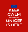 KEEP CALM BECAUSE UNICEF IS HERE - Personalised Poster A4 size