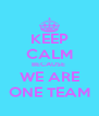 KEEP CALM BECAUSE  WE ARE ONE TEAM - Personalised Poster A4 size