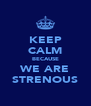 KEEP CALM BECAUSE WE ARE STRENOUS - Personalised Poster A4 size