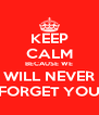 KEEP CALM BECAUSE WE WILL NEVER FORGET YOU - Personalised Poster A4 size