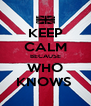 KEEP CALM BECAUSE WHO KNOWS  - Personalised Poster A4 size
