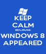 KEEP CALM BECAUSE WINDOWS 8 APPEARED - Personalised Poster A4 size