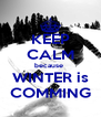 KEEP CALM because  WINTER is COMMING - Personalised Poster A4 size