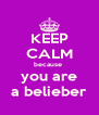 KEEP CALM because  you are a belieber - Personalised Poster A4 size