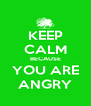 KEEP CALM BECAUSE YOU ARE ANGRY - Personalised Poster A4 size