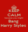 KEEP CALM because you might Bang  Harry Styles  - Personalised Poster A4 size