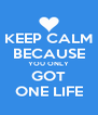 KEEP CALM BECAUSE YOU ONLY GOT ONE LIFE - Personalised Poster A4 size