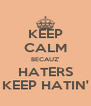 KEEP CALM BECAUZ' HATERS KEEP HATIN' - Personalised Poster A4 size