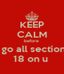 KEEP CALM before  i go all section  18 on u  - Personalised Poster A4 size