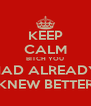 KEEP CALM BITCH YOU HAD ALREADY KNEW BETTER - Personalised Poster A4 size