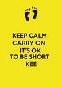 KEEP CALM  CARRY ON  IT'S OK TO BE SHORT  KEE - Personalised Poster A4 size