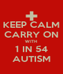 KEEP CALM CARRY ON WITH 1 IN 54 AUTISM - Personalised Poster A4 size