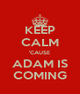 KEEP CALM 'CAUSE ADAM IS COMING - Personalised Poster A4 size