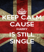 KEEP CALM CAUSE HARRY IS STILL SINGLE - Personalised Poster A4 size