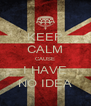 KEEP CALM CAUSE I HAVE NO IDEA - Personalised Poster A4 size