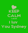 KEEP CALM Cause I luv  You Sydney - Personalised Poster A4 size