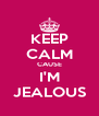 KEEP CALM CAUSE I'M JEALOUS - Personalised Poster A4 size