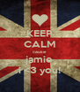 KEEP CALM cause jamie i <3 you! - Personalised Poster A4 size