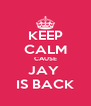 KEEP CALM CAUSE JAY  IS BACK - Personalised Poster A4 size