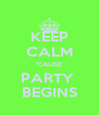 KEEP CALM 'CAUSE PARTY  BEGINS - Personalised Poster A4 size