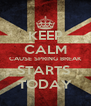 KEEP CALM CAUSE SPRING BREAK STARTS  TODAY - Personalised Poster A4 size