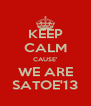 KEEP CALM CAUSE' WE ARE SATOE'13 - Personalised Poster A4 size