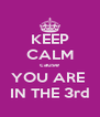 KEEP CALM cause YOU ARE  IN THE 3rd - Personalised Poster A4 size