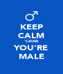 KEEP CALM 'CAUSE YOU'RE MALE - Personalised Poster A4 size