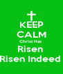 KEEP CALM Christ Has  Risen  Risen Indeed  - Personalised Poster A4 size