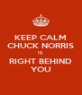 KEEP CALM CHUCK NORRIS IS RIGHT BEHIND YOU - Personalised Poster A4 size