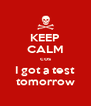 KEEP CALM cos I got a test  tomorrow  - Personalised Poster A4 size