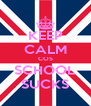 KEEP CALM COS SCHOOL SUCKS - Personalised Poster A4 size