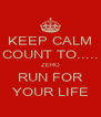 KEEP CALM COUNT TO..... ZERO RUN FOR YOUR LIFE - Personalised Poster A4 size