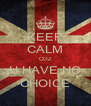 KEEP CALM COZ U HAVE NO CHOICE - Personalised Poster A4 size
