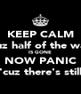 KEEP CALM 'cuz half of the way IS GONE NOW PANIC 'cuz there's still - Personalised Poster A4 size