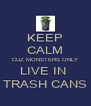 KEEP CALM CUZ MONSTERS ONLY LIVE IN  TRASH CANS - Personalised Poster A4 size