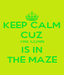 KEEP CALM CUZ THE CORN IS IN THE MAZE - Personalised Poster A4 size