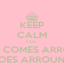 KEEP CALM CUZ  WHAT COMES ARROUND GOES ARROUND - Personalised Poster A4 size