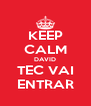 KEEP CALM DAVID TEC VAI ENTRAR - Personalised Poster A4 size