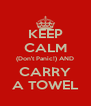 KEEP CALM (Don't Panic!) AND CARRY A TOWEL - Personalised Poster A4 size