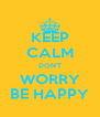 KEEP CALM DON'T WORRY BE HAPPY - Personalised Poster A4 size