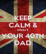 KEEP CALM & ENJOY YOUR 40TH DAD - Personalised Poster A4 size