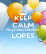 KEEP CALM FELIZ ANIVERSÁRIO LOPES  - Personalised Poster A4 size