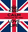 KEEP CALM FOLLOW ME AND LOVE LIFE - Personalised Poster A4 size